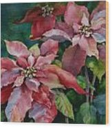 Poinsettia Pair Wood Print