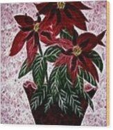 Poinsettias Expressive Brushstrokes Wood Print