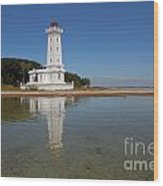 Point Abino Lighthouse Reflection Wood Print