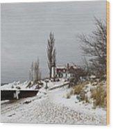Point Betsie In Winter Wood Print