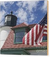 Point Betsie Lighthouse With Flag Wood Print
