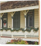 Point Fermin Lighthouse Christmas Porch Wood Print