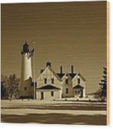 Point Iroquois Light Station Wood Print