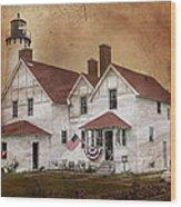 Point Iroquois Lighthouse Michigan Wood Print