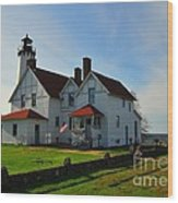 Point Iroquois Lighthouse On Whitefish Bay Michigan Wood Print