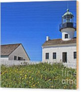 Point Loma Lighthouse By Diana Sainz Wood Print
