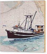 Point Loma Trawl Fishing Boat Nautical Chart Map Art Wood Print