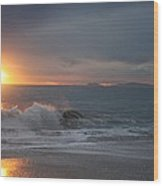 Point Mugu 1-9-10 Sun Setting With Surf Wood Print