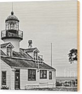 Point Pinos Lighthouse By Diana Sainz Wood Print