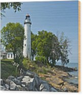 Pointe Aux Barques Lighthouse Wood Print
