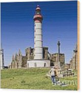 Pointe Saint Mathieu Brittany France Wood Print by Colin and Linda McKie