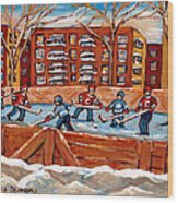 Pointe St. Charles Hockey Rink Southwest Montreal Winter City Scenes Paintings Wood Print