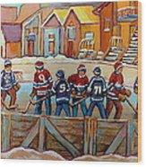 Pointe St. Charles Hockey Rinks Near Row Houses Montreal Winter City Scenes Wood Print