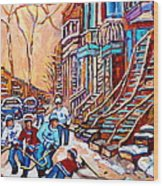 Pointe St.charles Hockey Game Near Winding Staircases Montreal Winter City Scenes Wood Print