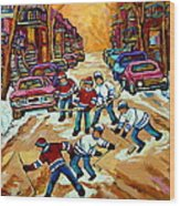 Pointe St.charles Hockey Game Winter Street Scenes Paintings Wood Print