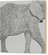 Pointillism Elephant Wood Print
