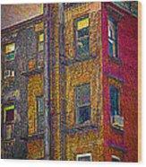 Pointillism In Steel And Brick Wood Print