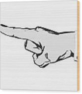 Pointing Finger Vector Black And White Wood Print