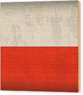 Poland Flag Distressed Vintage Finish Wood Print by Design Turnpike