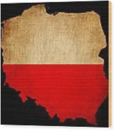 Poland Grunge Map Outline With Flag Wood Print