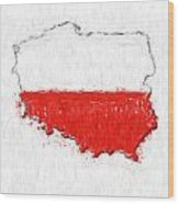 Poland Painted Flag Map Wood Print