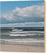 Poland, View Of Baltic Sea In Autumn At Wood Print