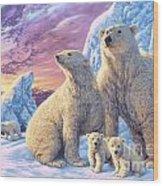Polar Bear Family Wood Print