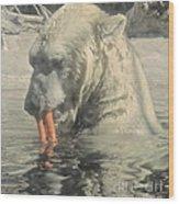 Polar Bear Snacking Wood Print