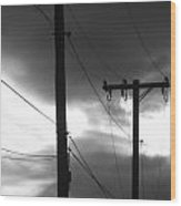 Poles And Sunsets In Black And White Wood Print