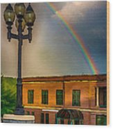 Police At The End Of The Rainbow Wood Print