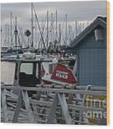 Police Boat Wood Print