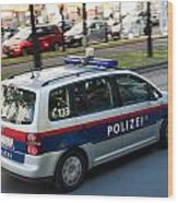 Police Car In Vienna Wood Print