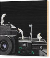 Police Investigate On A Camera Wood Print by Paul Ge