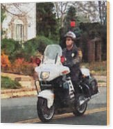 Police - Motorcycle Cop On Patrol Wood Print