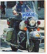 Police - Motorcycle Cop Wood Print