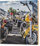 Police Motorcycle Lineup Wood Print