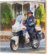 Police - Suburban Motorcycle Cop Wood Print