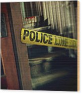 Police Tape Blocking Bloody Stairs Wood Print