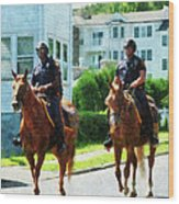 Police - Two Mounted Police Wood Print