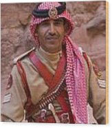 Policeman In Petra Jordan Wood Print by David Smith
