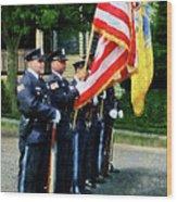 Policeman - Police Color Guard Wood Print by Susan Savad
