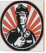 Policeman Security Guard With Flashlight Retro Wood Print by Aloysius Patrimonio