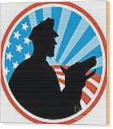 Policeman Security Guard With Police Dog Retro Wood Print