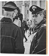 Policemen In Rome Wood Print