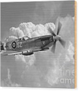 Polish Spitfire Ace Bw Wood Print