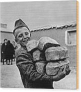 Polish Youngster With Bread Made Wood Print