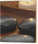 Polished Stones In A Spa Wood Print by Olivier Le Queinec