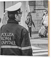 Polizia Roma Capitale Wood Print