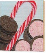 Polka Dot Candy Cane Cookies Wood Print