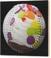 Polka Dot Cupcake Baseball Square Wood Print